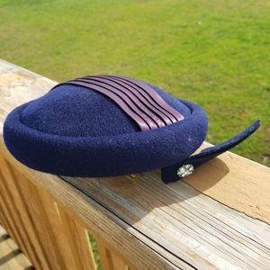 Vintage 40s Blue Wool Felt Calot Rhinestones Hat